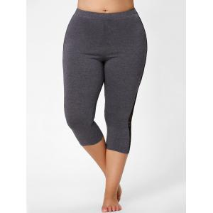 Mesh Panel Lace Plus Size Cropped Leggings - GRAY 5XL
