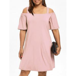 Cold Shoulder Half Sleeve Plus Size Dress - Light Pink - 3xl
