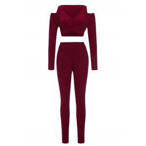 Skinny Pants and Cold Shoulder Crop Top - Wine Red - S