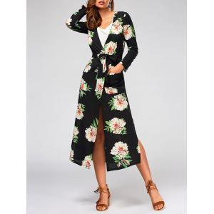 Flower Print Long Sleeve Belted Maxi Blouse - Black - S