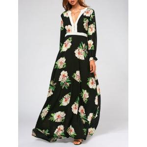 Flower Print High Waist Swing Maxi Dress - Black - L