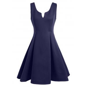 A Line Sleeveless Open Back Club Dress - Purplish Blue - Xl