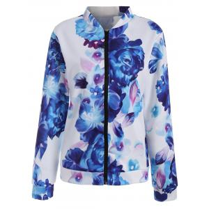Long Sleeve Zip Up Floral Jacket