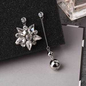 Rhinestone Sparkly Star Chain Ball Earrings