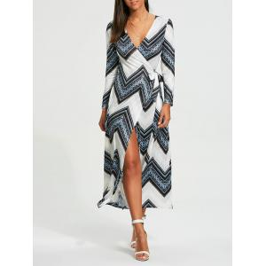 Long Sleeve Chevron Print Maxi Wrap Dress - White - Xl
