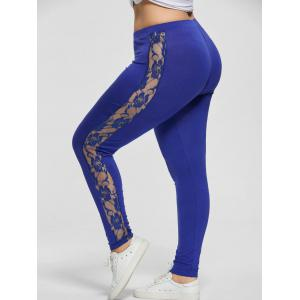 Plus Size Lace Trim Sheer Leggings - Blue - Xl
