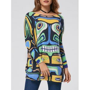 Pullover Drop Shoulder Cartoon Pattern Sweater