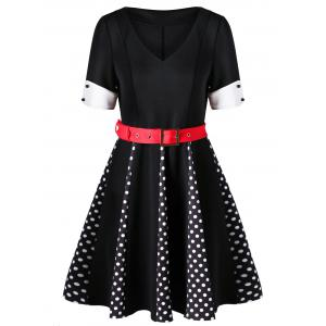 Polka Dot V Neck Swing Dress - Black - 2xl