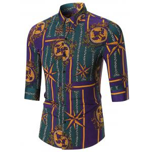 Three Quarter Sleeve Star Printed Shirt