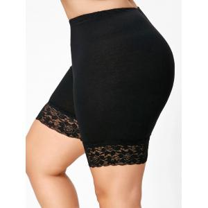 Lace Trim Plus Size Short Leggings - Black - 3xl