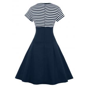 Vintage Buttoned Stripe Pin Up Dress - PURPLISH BLUE L
