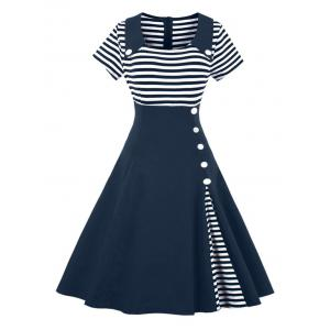 Vintage Buttoned Stripe Pin Up Dress - Purplish Blue - S