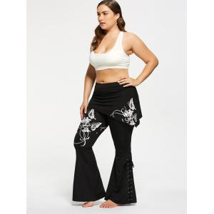 Plus Size Criss Cross Butterfly Flare Pants - WHITE XL