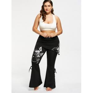 Pantalon flambant noir à taille grand Criss Cross - Blanc 5XL