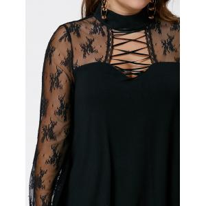Plus Size Criss Cross See Thru Flare Sleeve Blouse -