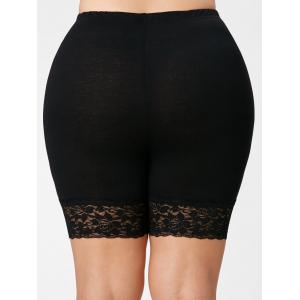 Lace Trim Plus Size Short Leggings - BLACK 5XL