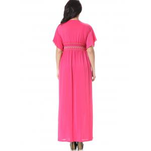 Embroidered Smocked Panel Maxi Dress -