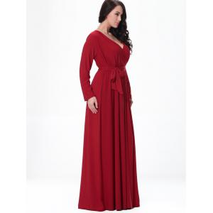 Belted Long Sleeve Formal Maxi Dress -