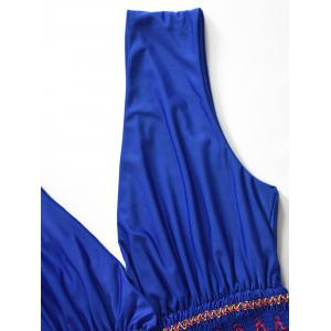 Zig Zag Smocked Waist Maxi Dress - BLUE 2XL