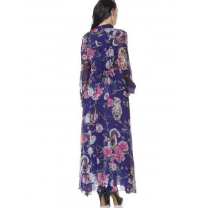 Floral Half Buttoned Long Sleeve Maxi Dress - FLORAL 2XL