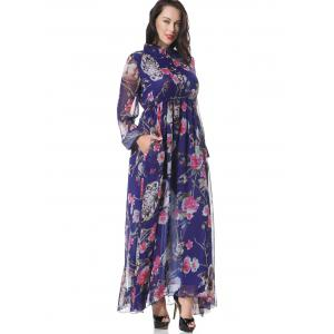 Floral Half Buttoned Long Sleeve Maxi Dress - FLORAL XL