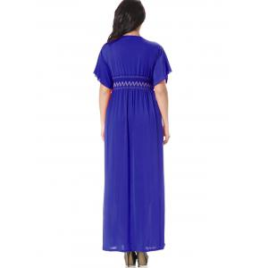 Embroidered Smocked Panel Maxi Dress - BLUE L