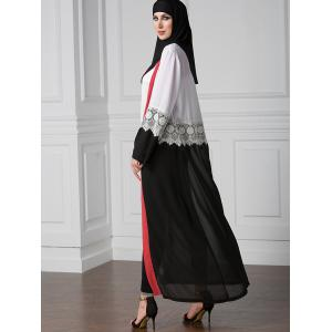 Lace Trim Patched Belted Longline Cardigan - MULTICOLOR M