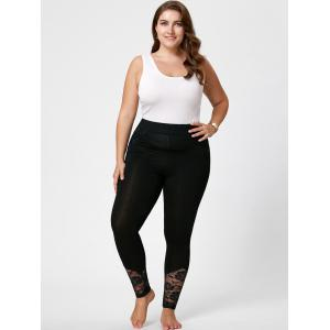 Plus Size Lace Insert Fitted Pants -