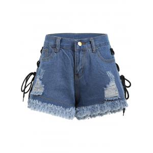 Lace Up Frayed Hem Ripped Denim Shorts -