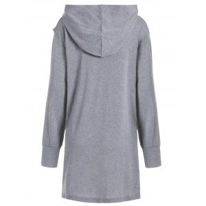 Plus Size Hooded Overlap Asymmetrical Top -