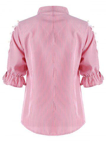 Fancy Button Up Cutout Pinstriped Shirt - M PINK Mobile