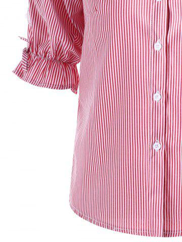 Cheap Button Up Cutout Pinstriped Shirt - M PINK Mobile