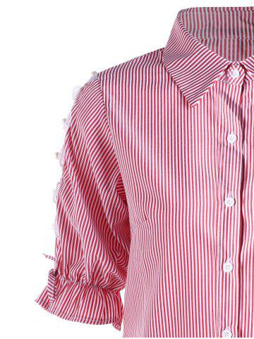 Best Button Up Cutout Pinstriped Shirt - M PINK Mobile