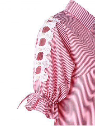 Sale Button Up Cutout Pinstriped Shirt - M PINK Mobile