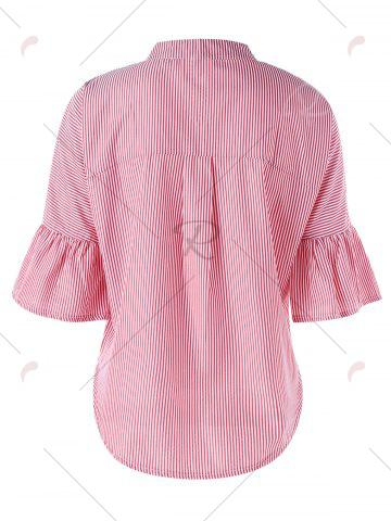 Chic Striped Flare Sleeve Embroidery Applique Blouse - M PINK Mobile
