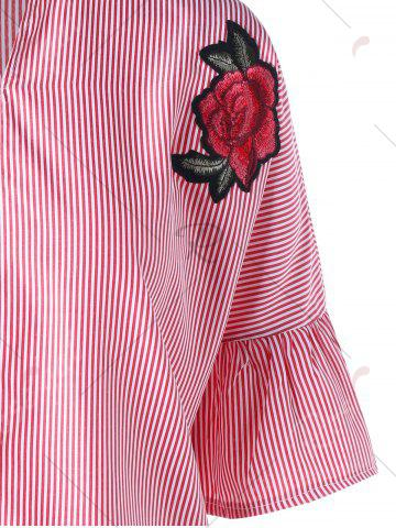 Buy Striped Flare Sleeve Embroidery Applique Blouse - M PINK Mobile