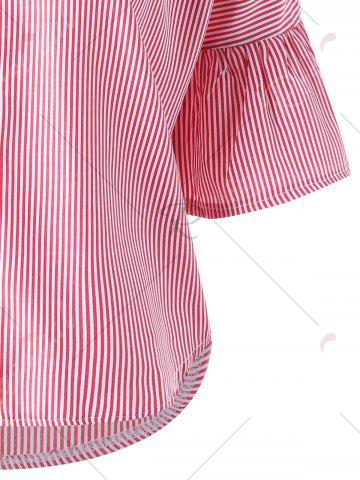 Latest Striped Flare Sleeve Embroidery Applique Blouse - M PINK Mobile