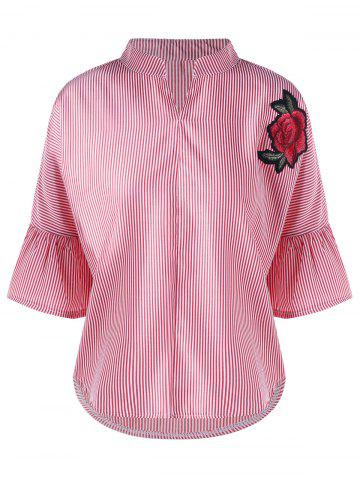 Sale Striped Flare Sleeve Embroidery Applique Blouse - M PINK Mobile
