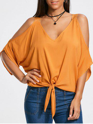 Outfit Cold Shoulder Tie Front Batwing Sleeve Blouse - S MANDARIN Mobile