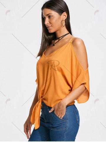 Buy Cold Shoulder Tie Front Batwing Sleeve Blouse - S MANDARIN Mobile