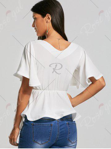 Buy Plunging Neckline Bowknot Belted Peplum Surplice Blouse - S WHITE Mobile