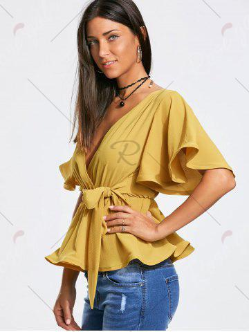 Cheap Plunging Neckline Bowknot Belted Peplum Surplice Blouse - L GINGER Mobile