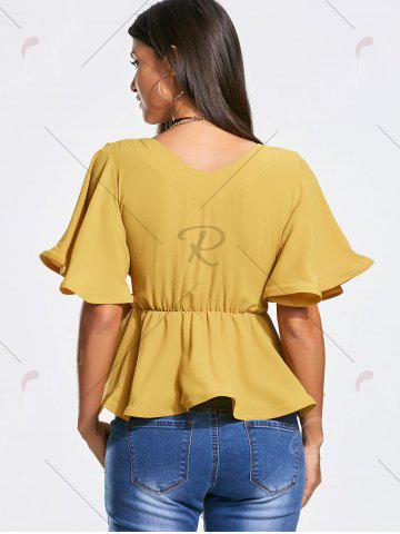 New Plunging Neckline Bowknot Belted Peplum Surplice Blouse - L GINGER Mobile