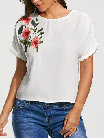 Cheap Flower Embroidery Short Batwing Sleeve Blouse - S WHITE Mobile