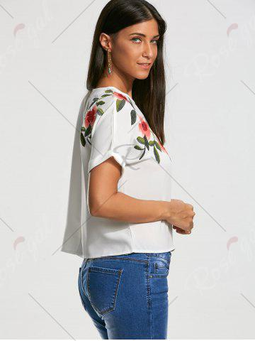 Trendy Flower Embroidery Short Batwing Sleeve Blouse - S WHITE Mobile