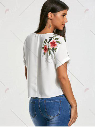 Buy Flower Embroidery Short Batwing Sleeve Blouse - S WHITE Mobile