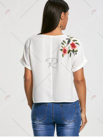 Hot Flower Embroidery Short Batwing Sleeve Blouse - S WHITE Mobile