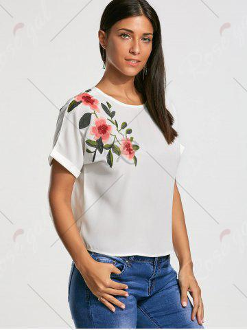 New Flower Embroidery Short Batwing Sleeve Blouse - S WHITE Mobile