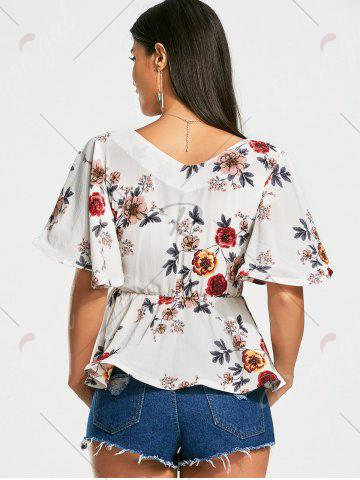Affordable Plunging Neckline Floral Peplum Surplice Blouse - S WHITE Mobile