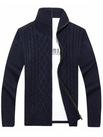 Affordable High Neck Cable Knit Sweater Cardigan BLUE 3XL